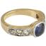 Sortija de Oro, Plata, Piedra de Color y Diamantes