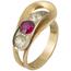 Sortija Vintage de Oro, Piedra de Color y Diamantes