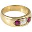 Sortija Tresillo Finales Siglo XIX de Oro, Diamante y Piedra de Color
