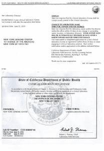 California State DOH Clinical Laboratory Permit
