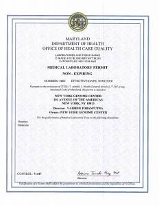 Maryland State DOH Clinical Laboratory Permit