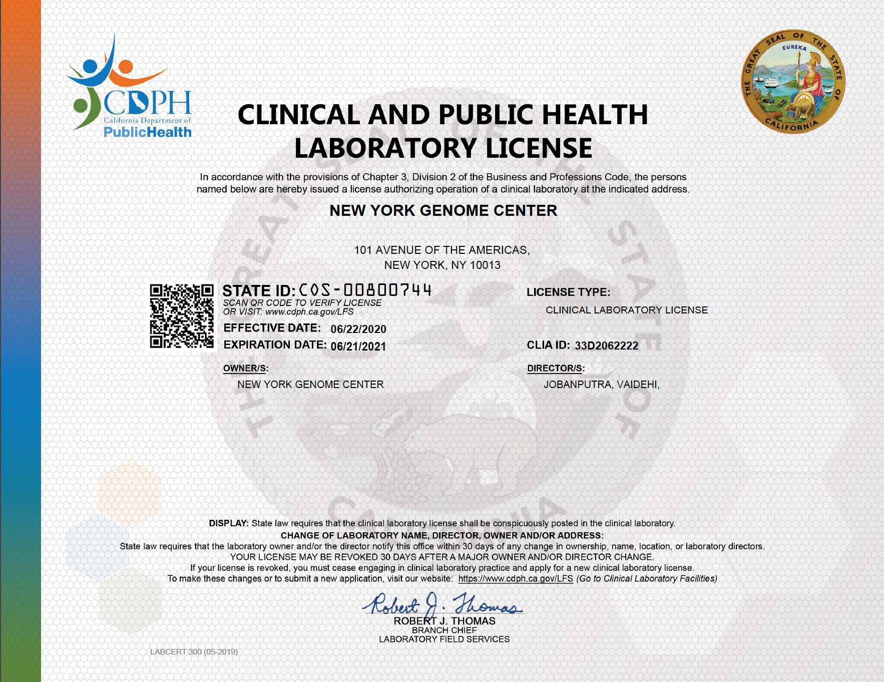 California State DOH Clinical Laboratory Permit