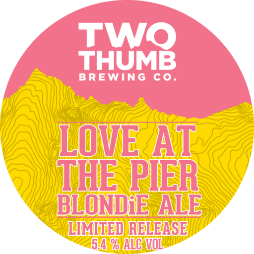 10200 v3 Two Thumb Love At The Pier Blondie Ale 85mm Tap Badge Bigger tap Badge