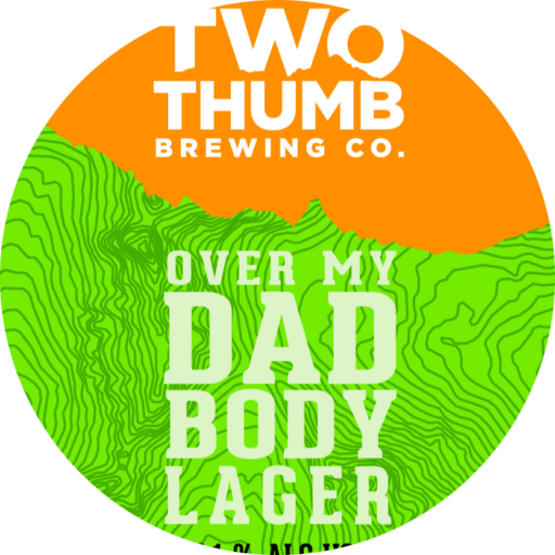 10605 Two Thumb Over My Dad Body Tap Badge 85mm 1