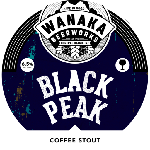 Wanaka Beerworks Beer Tap Label Black Peak
