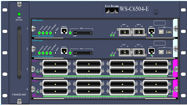 Cisco WS-C6504-E drawn by NetZoom Visio Stencils