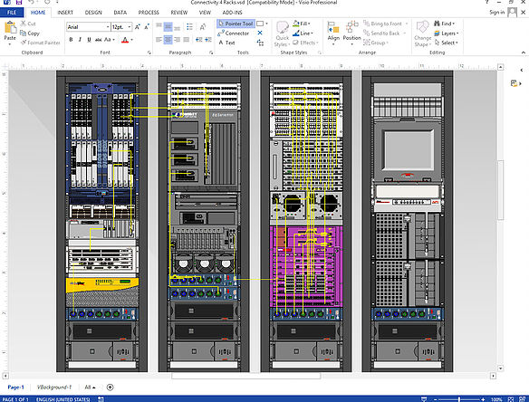 Connectivity between four racks using NetZoom Visio Stencils