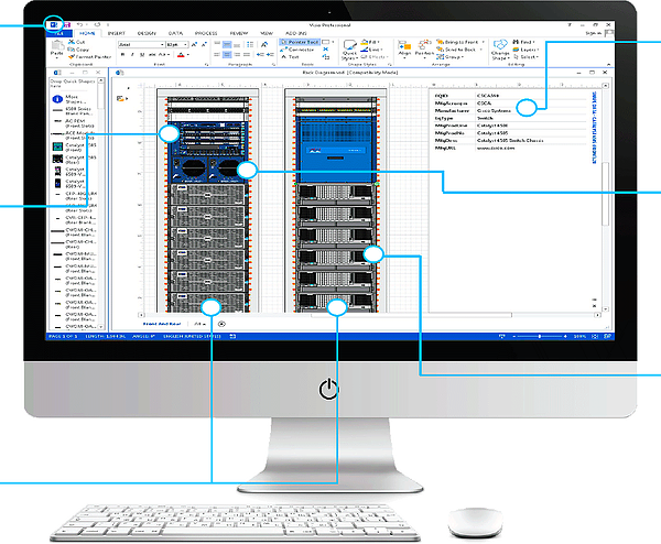 Monitor displaying network diagramming using NetZoom Visio Stencils