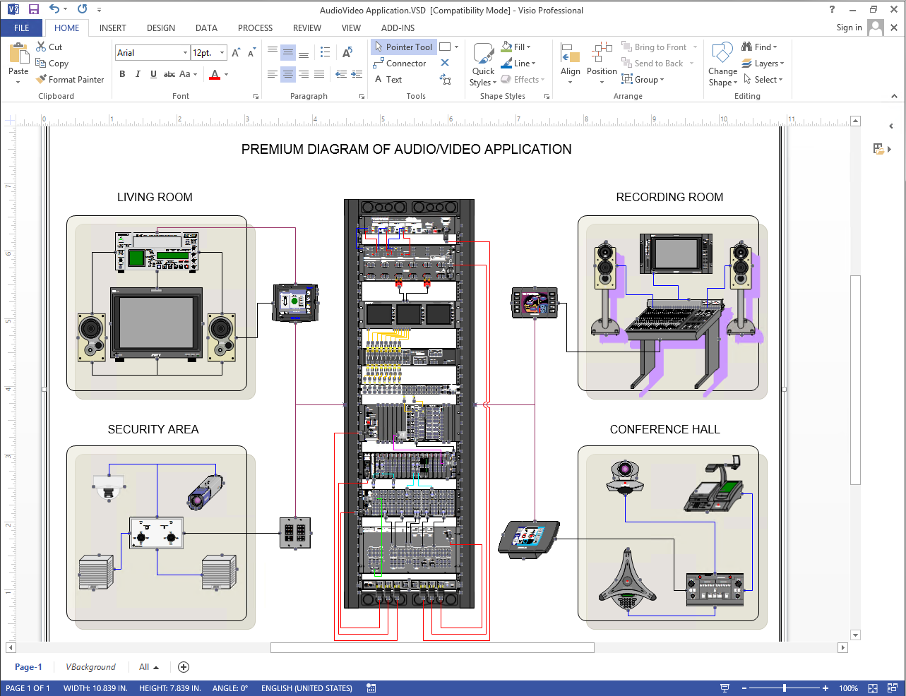 Diagram of audio video network using NetZoom Visio Stencils