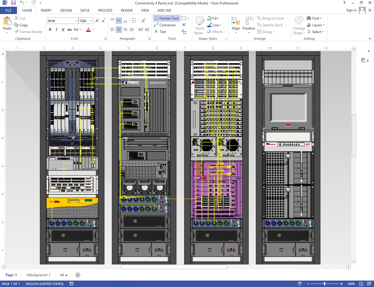 Netzoom visio stencils diagram of data center rack elevations depicting connections within and between racks using netzoom visio stencils asfbconference2016 Image collections