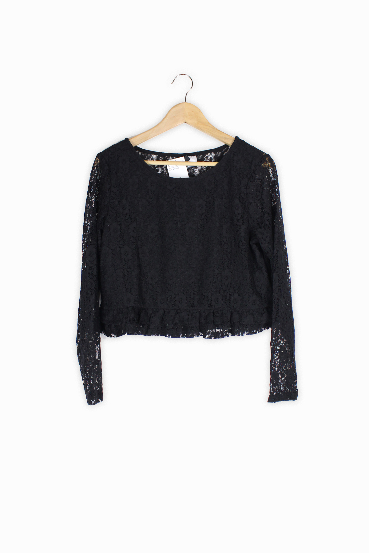 b1e8dc10b4c HomeWomenH&M black lace frill hem top Size L – Brand New with Tags.  Previous. Second Hand Clothes Pre-Owned Clothing | Oafo