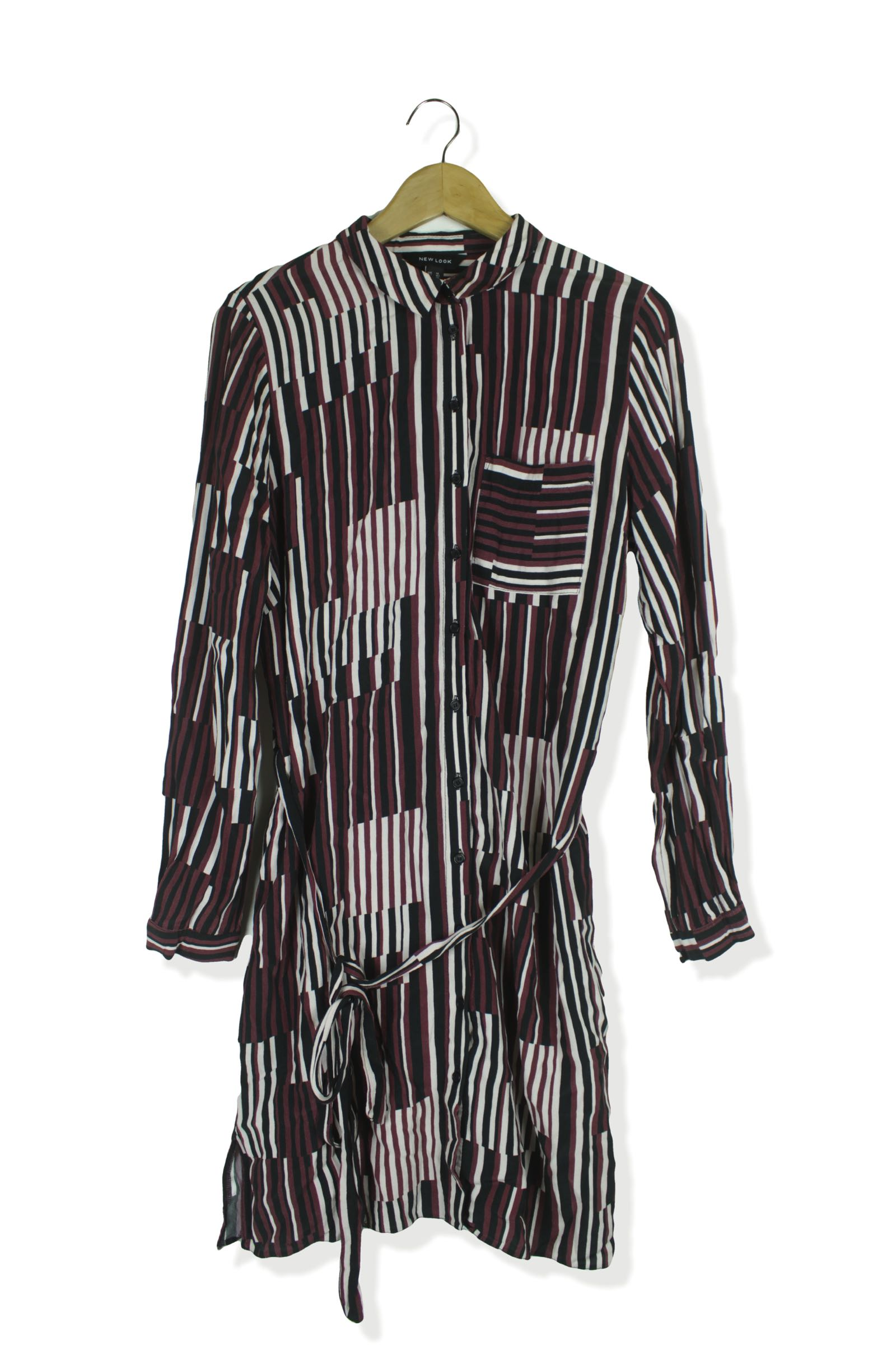 40b117be400ca2 HomeWomenNew Look pink & black abstract pattern shirt dress Size 14.  Previous. Second Hand Clothes