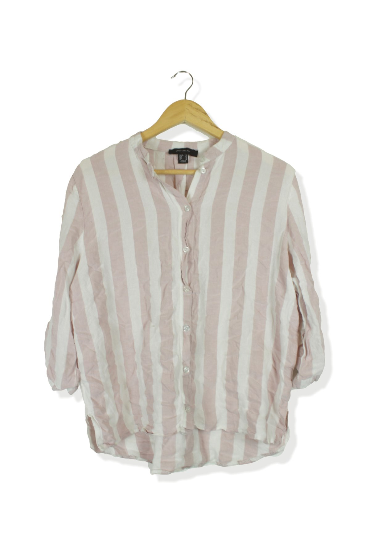 e1aff6630 HomeWomenAtmosphere white & pink striped summer blouse shirt top Size 14.  Previous. Second Hand Clothes
