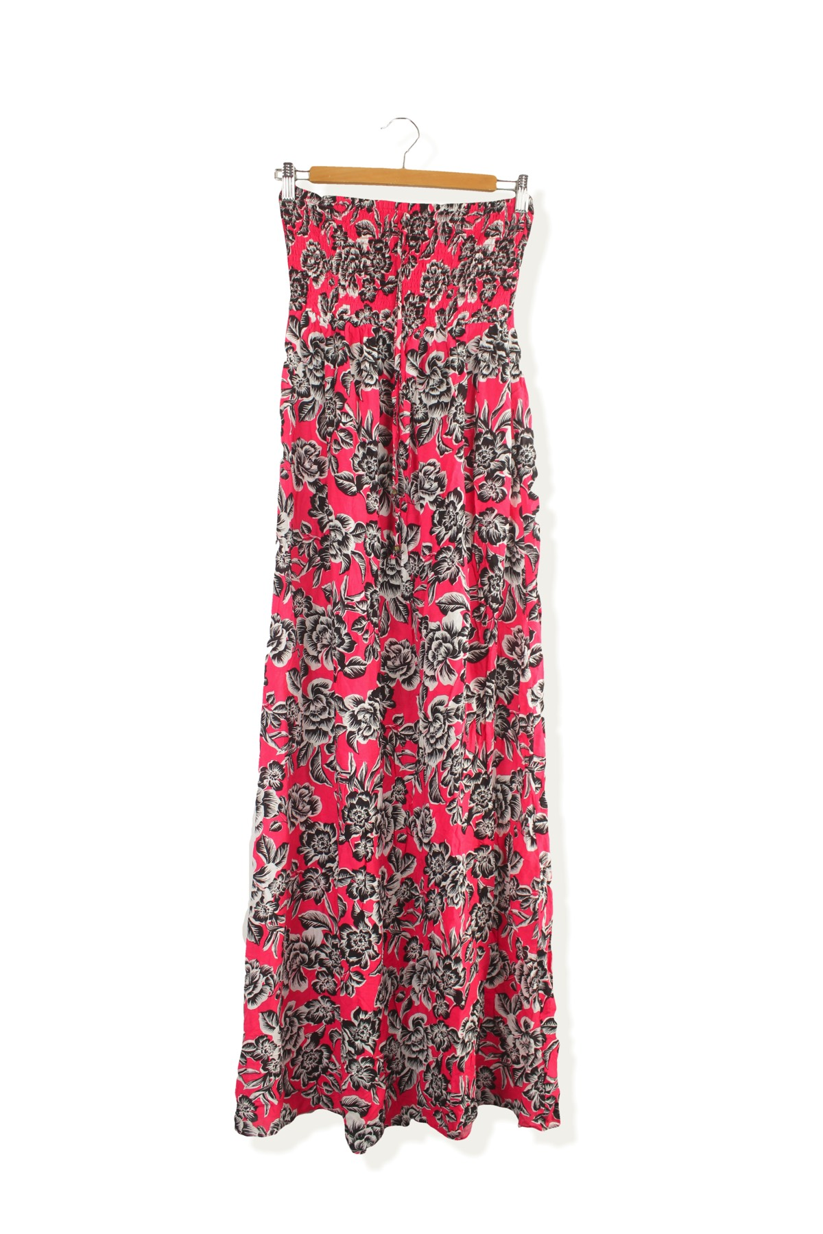 eba13844af2 HomeWomenNew Look pink black floral pattern summer bandeau maxi dress size  8. Previous. New Look Second-Hand Clothing