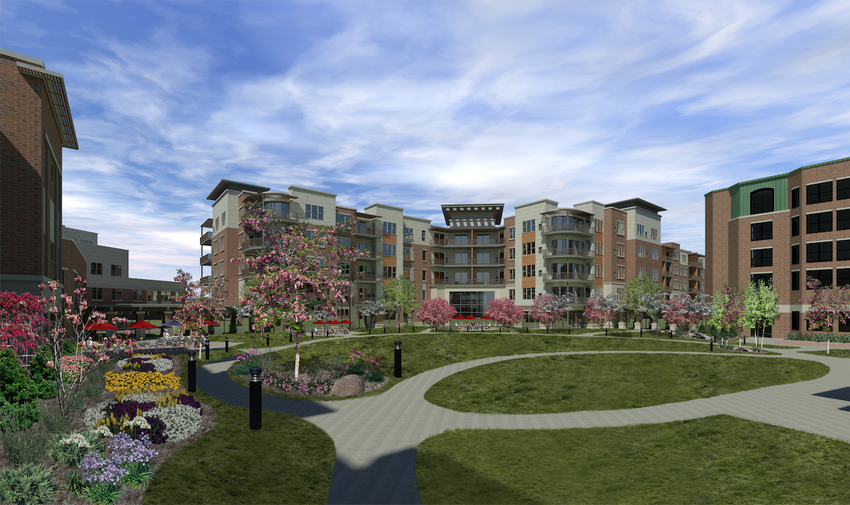 Rendering of some of the new senior apartments coming to Oak Trace, a retirement community in the Chicago Suburbs