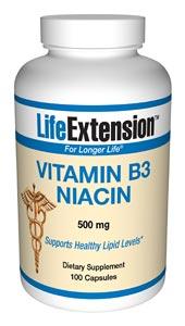Vitamin B3 Niacin | 500 mg, 100 capsules
