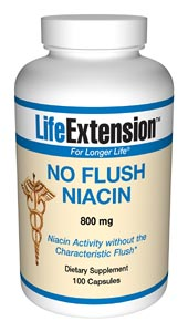 No-Flush Niacin contains a special form of niacin, inositol hexanicotinate, consisting of six molecules of niacin chemically linked to an inositol molecule. It is hydrolyzed in the body to free niacin and inositol, which is a very slow process. Its
