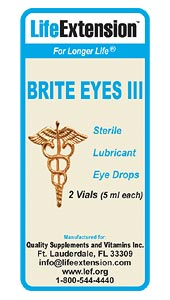 As we get older, our eyes become vulnerable to a variety of insults that can cause irritation. Applying lubricating eye drops several times a day can alleviate discomfort. The Brite Eyes III formula contains two clinically validated lubricants (hydroxypropylmethylcellulose and