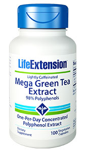 Mega Green Tea Extract (lightly  caffeinated) provides powerful  antioxidant effects throughout the body. Green tea contains health-promoting  polyphenols including epigallocatechin-3-gallate (EGCG), a powerful antioxidant  which has been the subject of extensive scientific research. So pour on the  multiple health benefits
