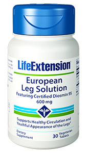 Fifty  percent of American women will probably develop unsightly leg veins. European Leg Solution Featuring Certified Diosmin 95 is an  all-natural approach designed to support healthy circulation and the youthful  appearance of the legs. It provides a sweet orange extract