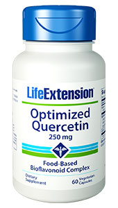Quercetin is a bioflavonoid  that supports cellular health, endothelial health, and healthy immune function.  Optimized Quercetin delivers 250 mg of standardized quercetin in a bioavailable  super food blend, as well as vitamin C and camu-camu berry extract to further  support