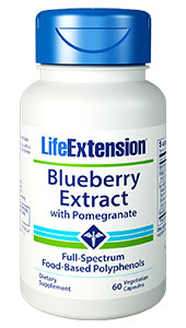 Compared to many fruits and vegetables,  blueberries contain some of the most potent compounds for combating oxidative  stress and inflammation. Blueberry  Extract with Pomegranate is formulated from wild blueberries which provide  even more potency than commercially grown varieties. The formula