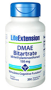 DMAE (2-dimethylaminoethanol) is known to stabilize cell membranes.1,2 Cell membrane degradation has been proposed as one of the prime mechanisms of normal aging.3 DMAE is a precursor to choline and acetylcholine.2-7 Choline inside cells is converted to phosphatidylcholine and is
