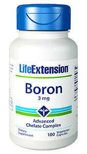 Boron is an essential nutrient for optimal calcium metabolism and healthy bones and joints.1-5 Boron may affect human steroid hormone levels. Dietary boron intake may support a healthy prostate