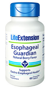 Esophageal Guardian with Natural  Berry Flavor provides a unique approach to protect the  delicate lining of your esophagus from harsh stomach acids. Less than a minute  after you chew and swallow two natural berry-flavored tablets, this novel  formula creates a