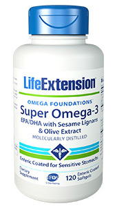 Super Omega-3 EPA/DHA with Sesame Lignans & Olive Extract | 120 enteric coated softgels