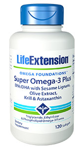 Super Omega-3 Plus EPA/DHA with Sesame Lignans, Olive Extract, Krill & Astaxanthin | 120 softgels