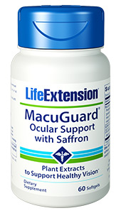 Support  your eye health and night vision      MacuGuard Ocular Support with Saffron  provides lutein, trans-zeaxanthin, and meso-zeaxanthin,  three important nutrients that protect the delicate photoreceptor cells in the  retinas macula from light damage. This innovative formula also contains   C3G