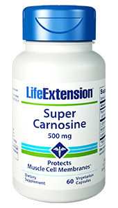 Carnosine  is a dipeptide consisting of amino acids beta-alanine and L-histidine.  Carnosine acts as both an antioxidant and a pH buffer, protecting muscle cell  membranes from oxidation both during and after exercise. Carnosine also  inhibits glycation, a natural chemical reaction