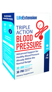 Triple Action Blood  Pressure AM/PM provides day and night nutritional support for healthy blood  pressure levels already within normal range. Unlike traditional blood pressure  supplements, our Triple Action Blood Pressure AM/PM formula delivers flavonoid  and glycoside compounds in two separate