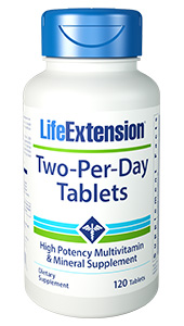 Life Extensions Two Per Day multivitamins have the highest nutritional potencies of any science-based multivitamin formula that can fit inside two capsules or tablets. This gives you far more of the essential vitamins, minerals and health-promoting nutrients than typical store