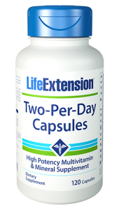 Life Extension's Two Per Day multivitamins have the highest nutritional potencies of any science-based multivitamin formula that can fit inside two capsules or Capsules. This gives you far more of the essential vitamins, minerals and health-promoting nutrients than typical store-bought formulas, and it does so at a very economical price.