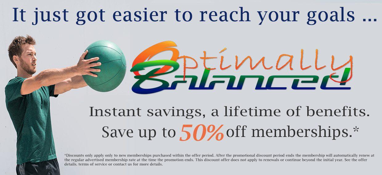 Save up to 50% off Memberships at Optimally Balanced