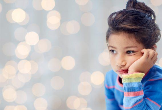 Sad girl staring at lights