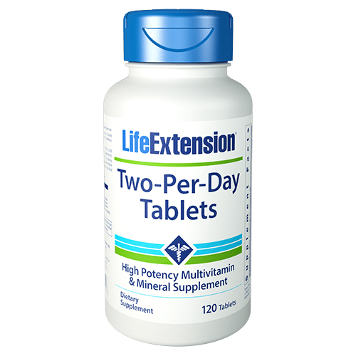 Life Extension's Two Per Day multivitamins have the highest nutritional potencies of any science-based multivitamin formula that can fit inside two capsules or tablets.