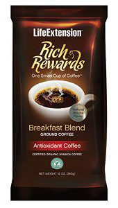 When it comes to obtaining coffee's full range of health benefits, most people aren't getting their money's worth. Made using a patented, 100% natural process called Healthy-Roast™. This process delivers a more complete nutritional profile of the coffee bean, yielding chlorogenic acid levels far greater than other premium brands'up to 87% more chlorogenic acid than conventional coffees. Handpicked deep in the rainforests of Central America, Rich Rewards® consists exclusively of 100% USDA certified organic Arabica coffee beans, gently roasted in small batches and ground for easy brewing.