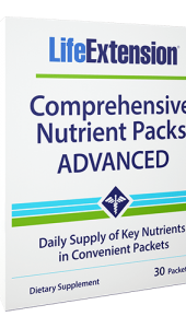 Adequate intake of vitamins and minerals is of key importance to optimal health. Since it is nearly impossible to eat enough food to get all the nutrients the body needs on a daily basis, multinutrient supplementation ensures optimal intake. Life Extension has combined several supplements to provide a strong foundation for health and longevity. These top recommendations are organized in a convenient single-serve packet.
