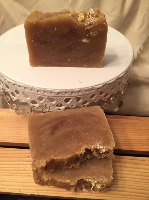 Oatmeal Milk and Honey Soap on a plate