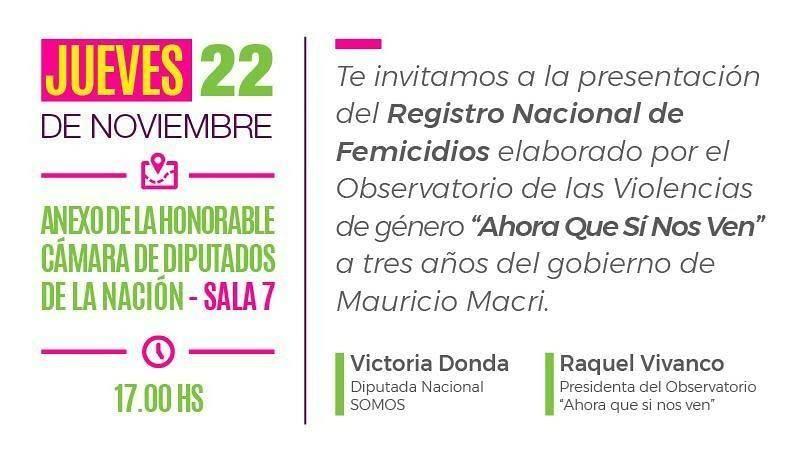 Invitacion presentación del registro nacional de femicidios en el Congreso
