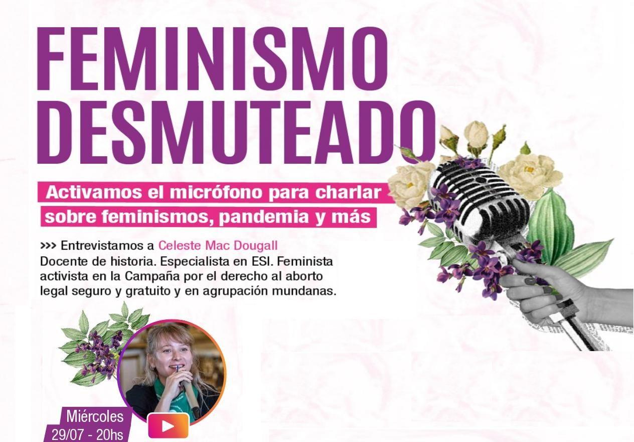 Microfono con flores Feminismo Desmuteado Charla con Celeste Mac Dougall