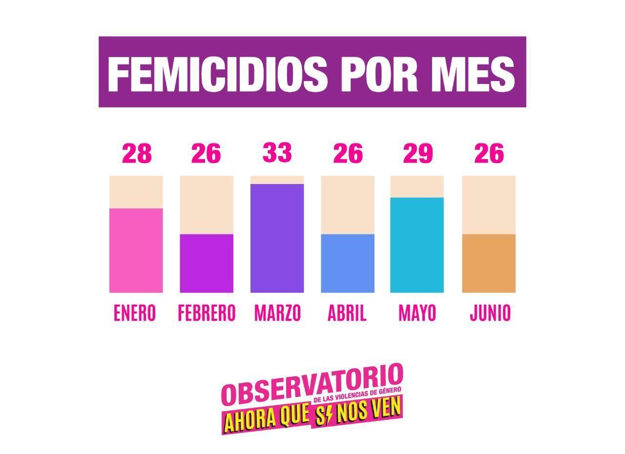 Grafico de barras femicidios por mes