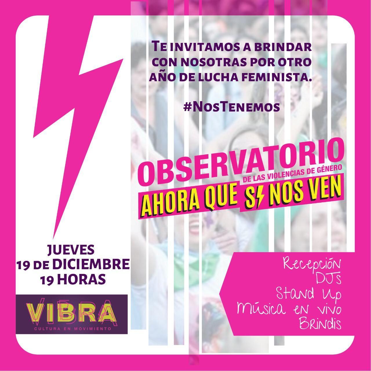 invitacion brindis en Vibra un rayo rosa con mujeres saltando