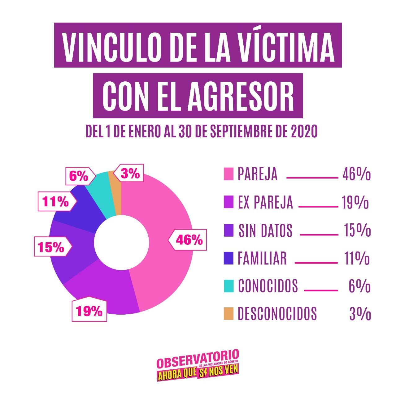Vinculo con el agresor: 46% pareja, 19% ex pareja, 11% familiar, 6% conocidos y 18% otros