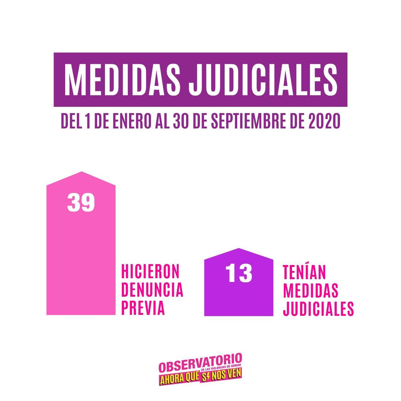 Medidas Judiciales: 39 hicieron denuncia previa y 13 tenian medidas judiciales
