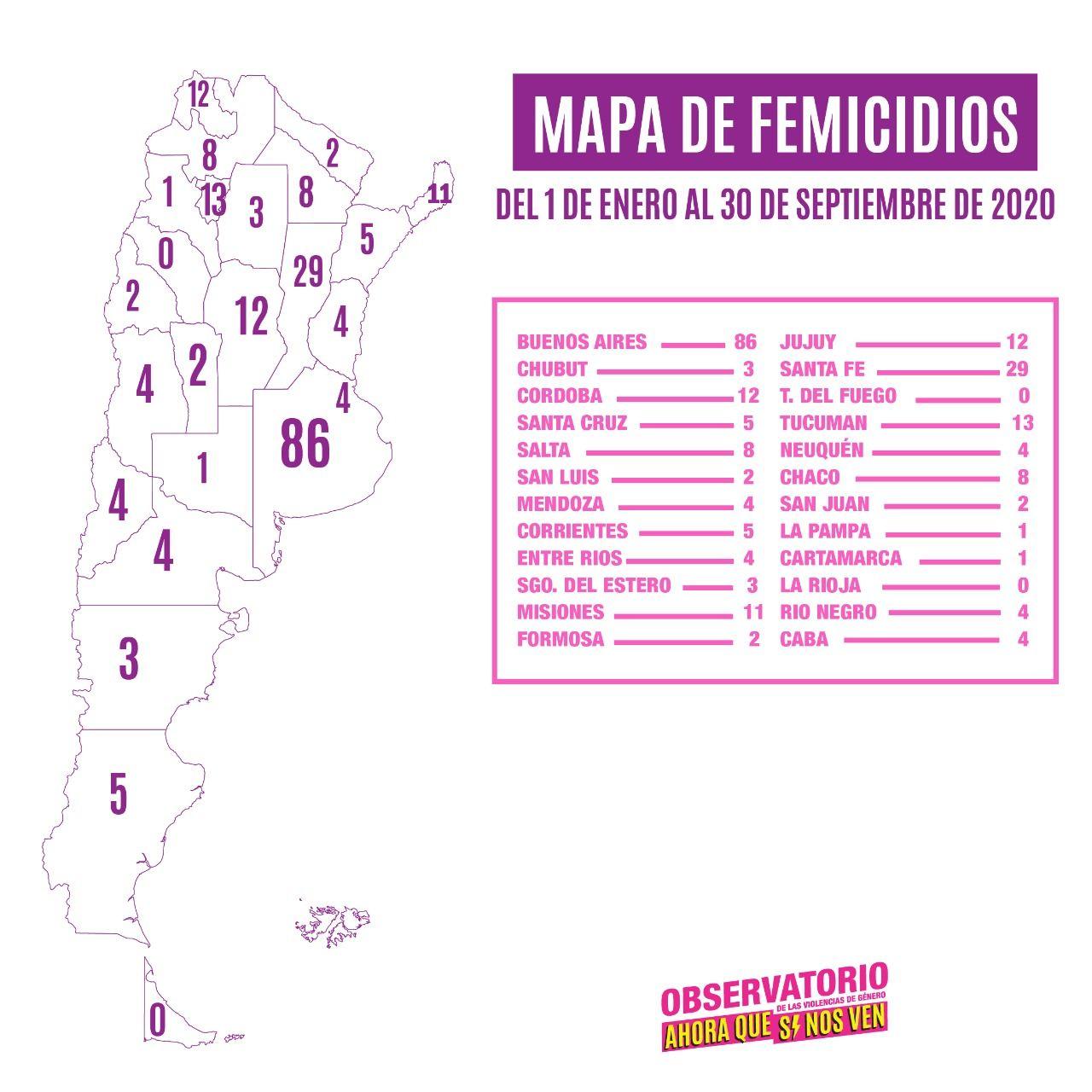 Mapa de femicidios: Chaco y Salta 8, Corrientes y Santa Cruz 5 y el resto 4 o menos