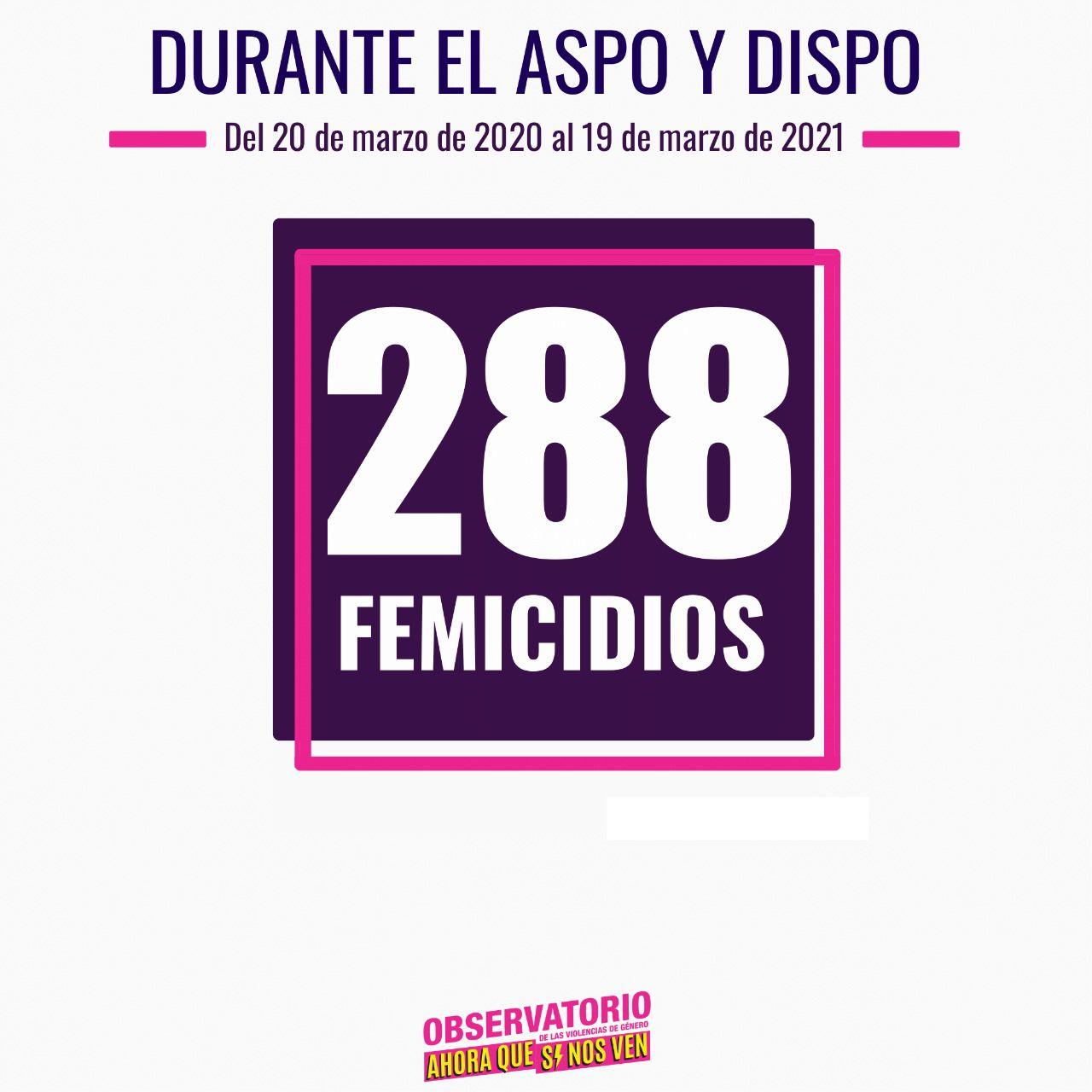 288 femicidios del 20 de marzo de 2020 al 19 de marzo de 2021